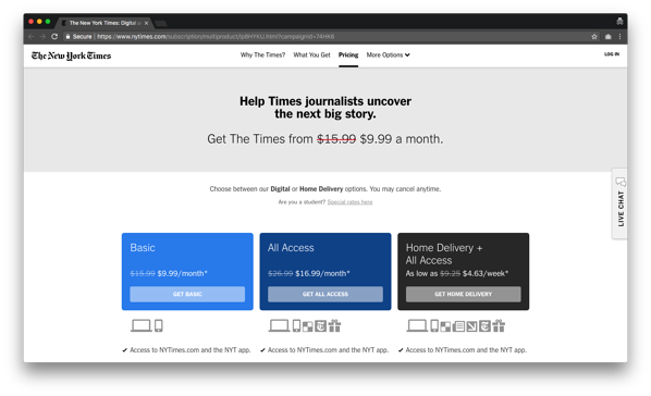Tearing Down The Pricing Of The New York Times
