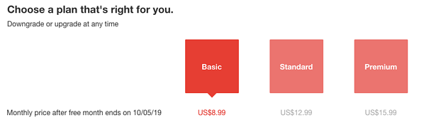 Netflix Pricing Page